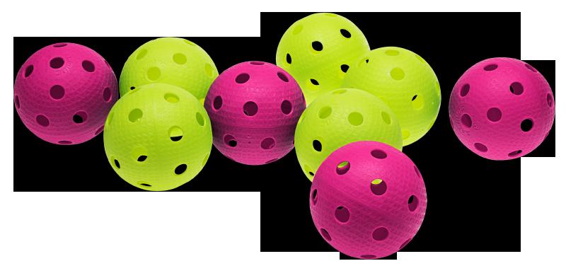 färgade innebandybollar